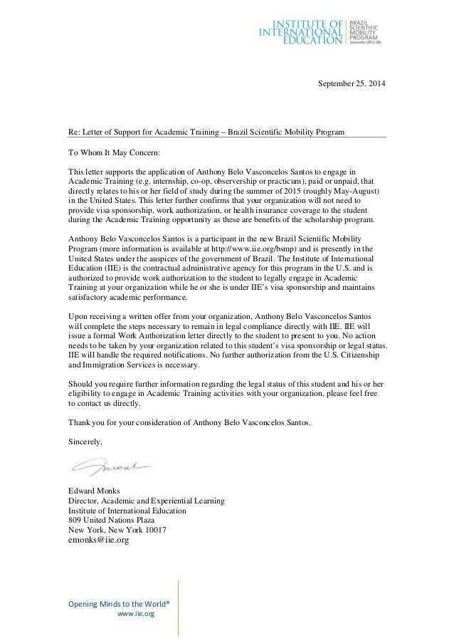 academic training letter of support