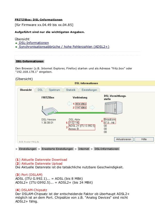 FRITZ!Box: DSL-Informationen [für Firmware xx.04.49 bis xx.04.85] Aufgeführt sind nur die wichtigsten Angaben. Übersicht D...