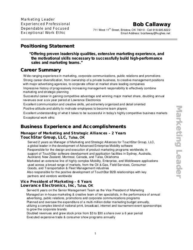 Bob Callaway Marketing Executive Resume R2015