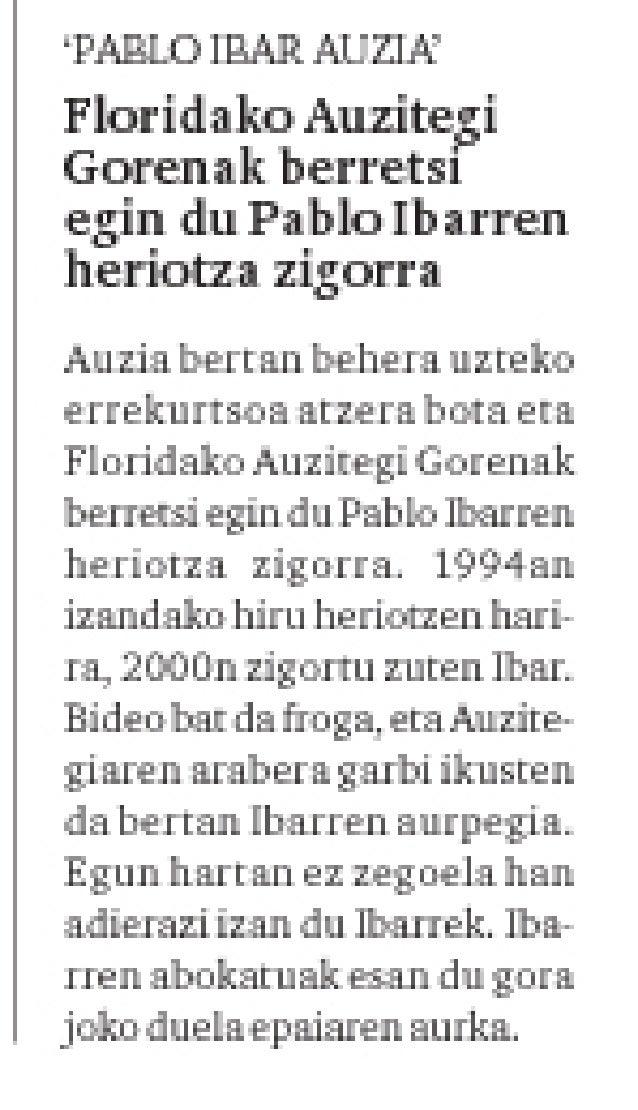 Floridako Auzitegi Gorenak berretsi egin du Pablo Ibarren heriotza zigorra