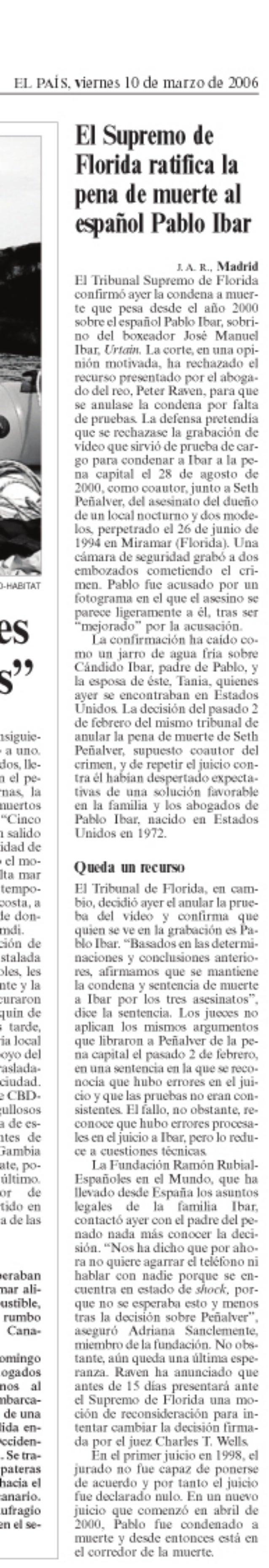 El Supremo de Florida ratifica la pena de muerte al español Pablo Ibar