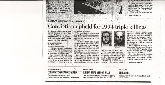 Conviction Upheld for 1994 triple killings