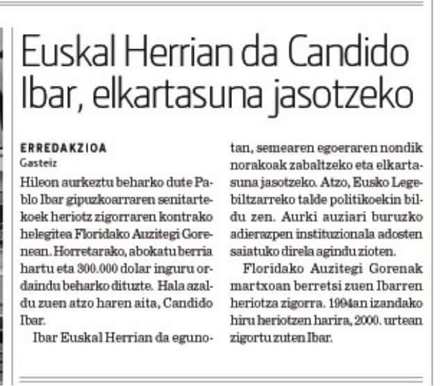 Euskal Herrian da Candido Ibar, elkartasuna jasotzeko