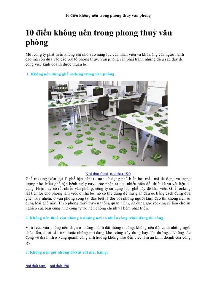 10 điều không nên trong phong thuỷ văn phòng10 điều không nên trong phong thuỷ vănphòngMột công ty phát triển không chỉ nh...