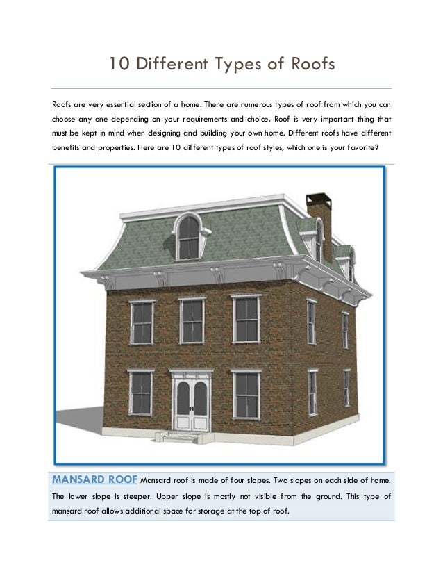 10 different types of roofs for Different types of roofs