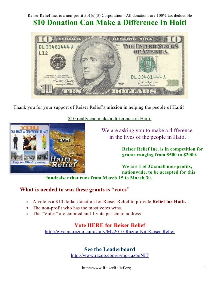 Reiser Relief Inc. is a non-profit 501(c)(3) Corporation - All donations are 100% tax deductible           $10 Donation Ca...