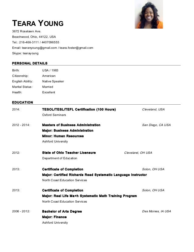 Teara young oxford esl master resume nov 2014 for Oxford university cv template