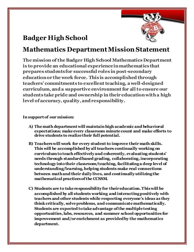 Badger High School Mathematics Department Mission Statement