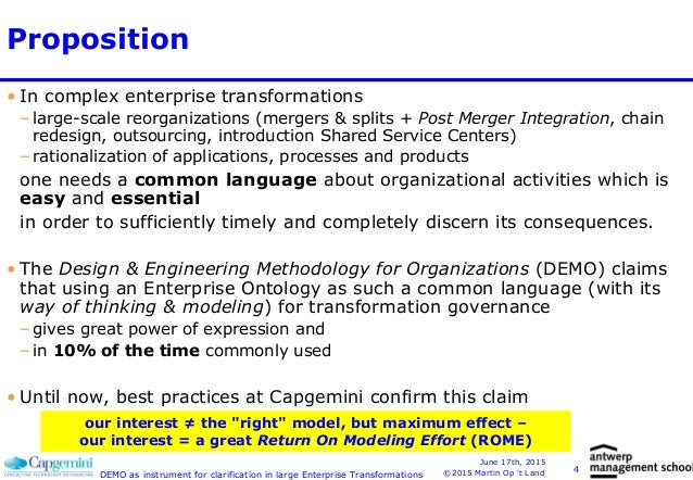Demo As Instrument For Clarification In Large Enterprise Transformati