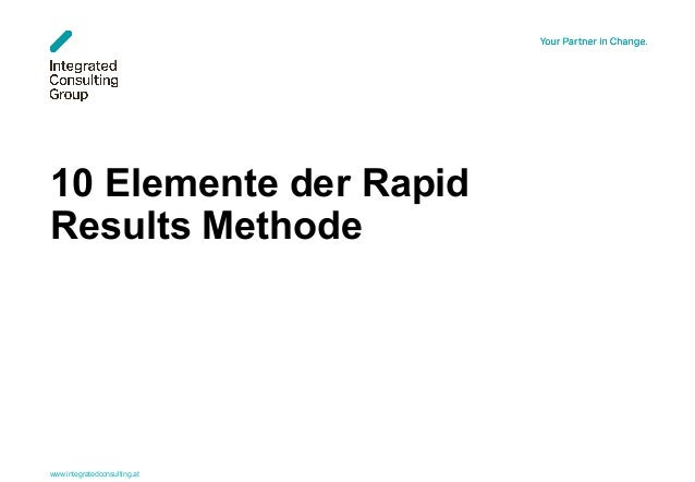 www.integratedconsulting.at 1 10 Elemente der Rapid Results Methode