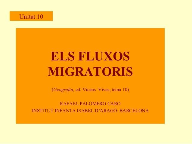 Unitat 10  ELS FLUXOS MIGRATORIS (Geografia, ed. Vicens Vives, tema 10) RAFAEL PALOMERO CARO INSTITUT INFANTA ISABEL D'ARA...