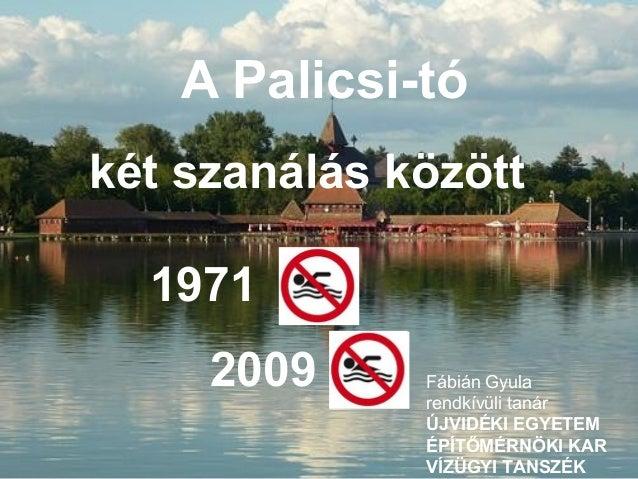 A Palicsi-tókét szanálás között19712009 Fábián Gyularendkívüli tanárÚJVIDÉKI EGYETEMÉPÍTŐMÉRNÖKI KARVÍZÜGYI TANSZÉK
