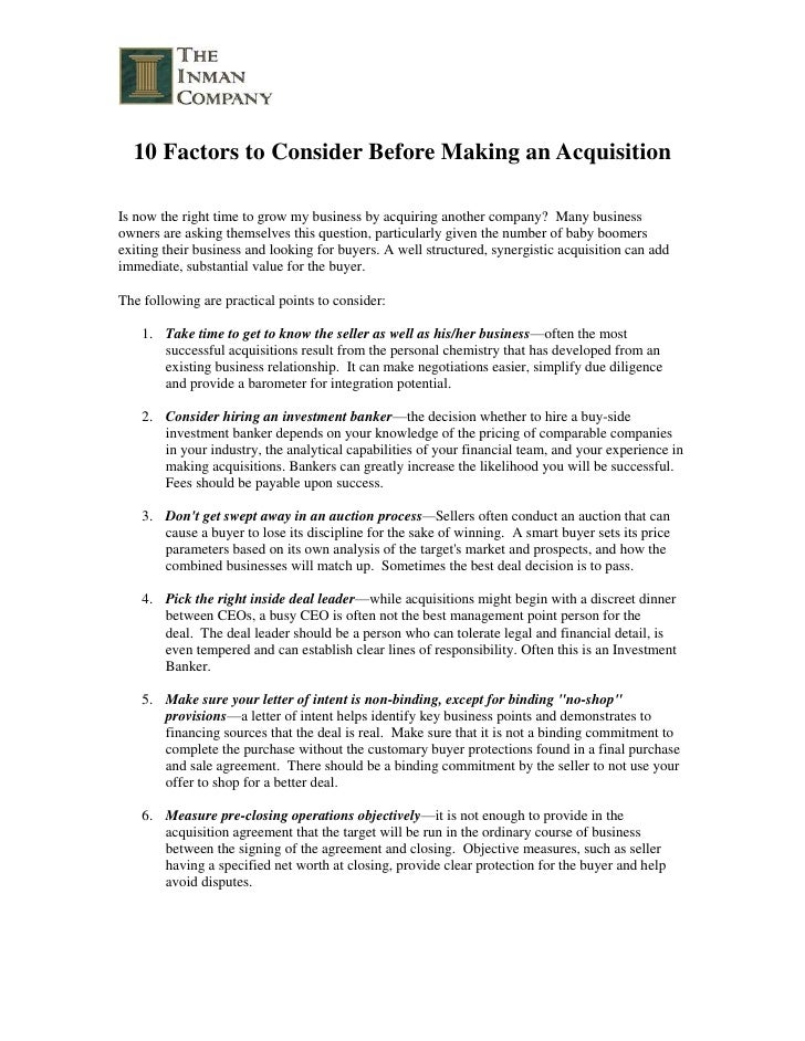 10 Factors to Consider Before Making an Acquisition <br />Is now the right time to grow my business by acquiring another c...