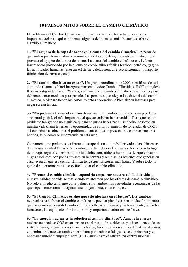 10 FALSOS MITOS SOBRE EL CAMBIO CLIMÁTICOEl problema del Cambio Climático conlleva ciertas malinterpretaciones que esimpor...