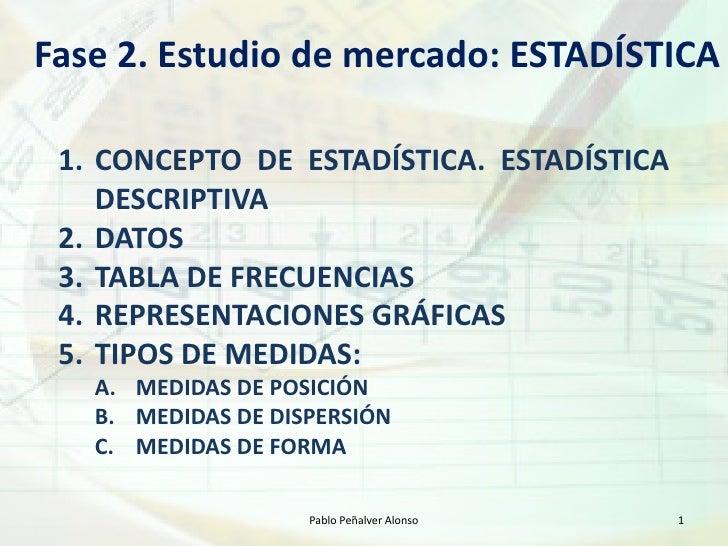 Fase 2. Estudio de mercado: ESTADÍSTICA   1. CONCEPTO DE ESTADÍSTICA. ESTADÍSTICA     DESCRIPTIVA  2. DATOS  3. TABLA DE F...