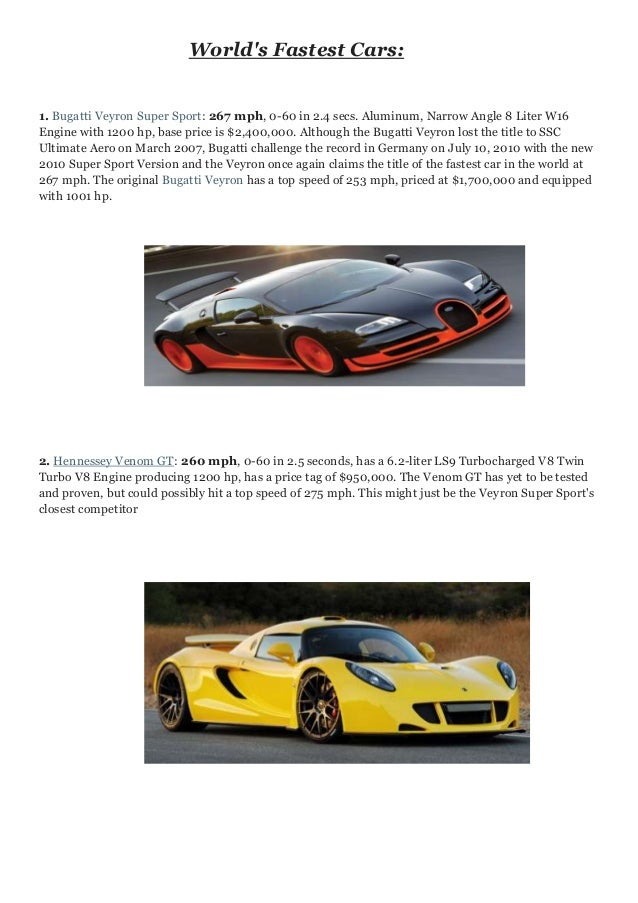 Worldu0027s Fastest Cars: 1. Bugatti Veyron Super Sport: 267 Mph, ...