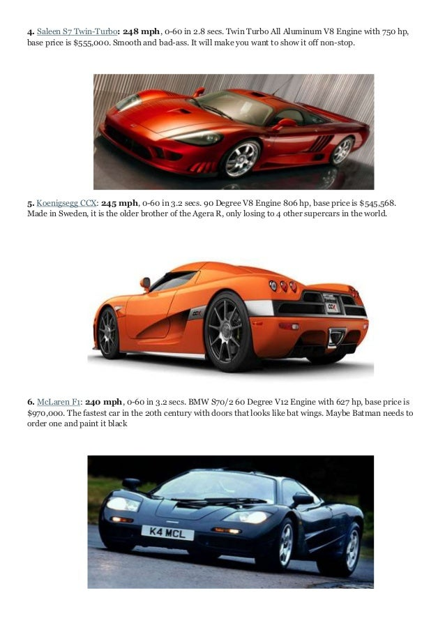 Fastest Cars Of The World - Fastest sports cars 0 60