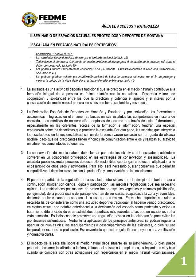 """ÁREA DE ACCESOS Y NATURALEZA  1  III SEMINARIO DE ESPACIOS NATURALES PROTEGIDOS Y DEPORTES DE MONTAÑA  """"ESCALADA EN ESPACI..."""