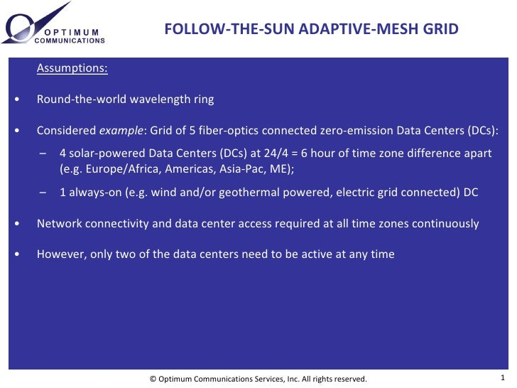FOLLOW-THE-SUN ADAPTIVE-MESH GRID      Assumptions:  •   Round-the-world wavelength ring  •   Considered example: Grid of ...