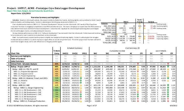 format for evm report