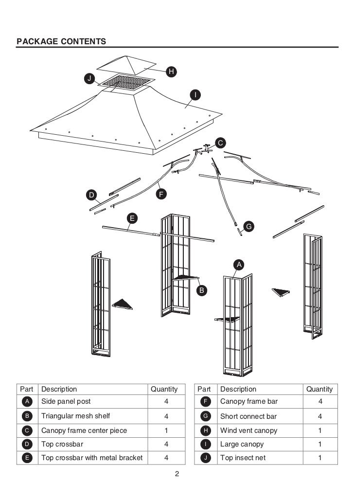 10 Ft Square Steel Gazebo Assembly Manuals