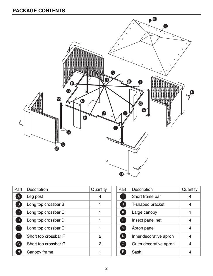 10 ft. x 12 ft. steel gazebo assembly & instructions manuals