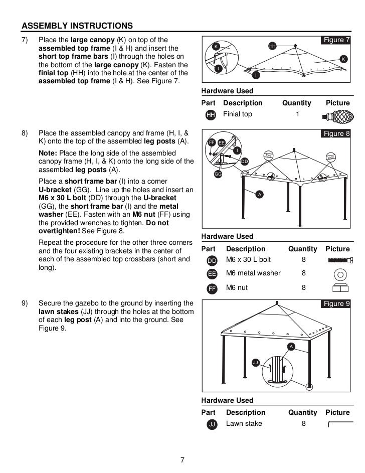 10 Ft X 12 Steel Gazebo Assembly Instructions Manuals