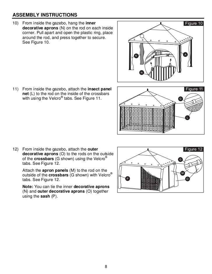 10 Ft X 12 Ft Steel Gazebo Assembly Instructions Manuals