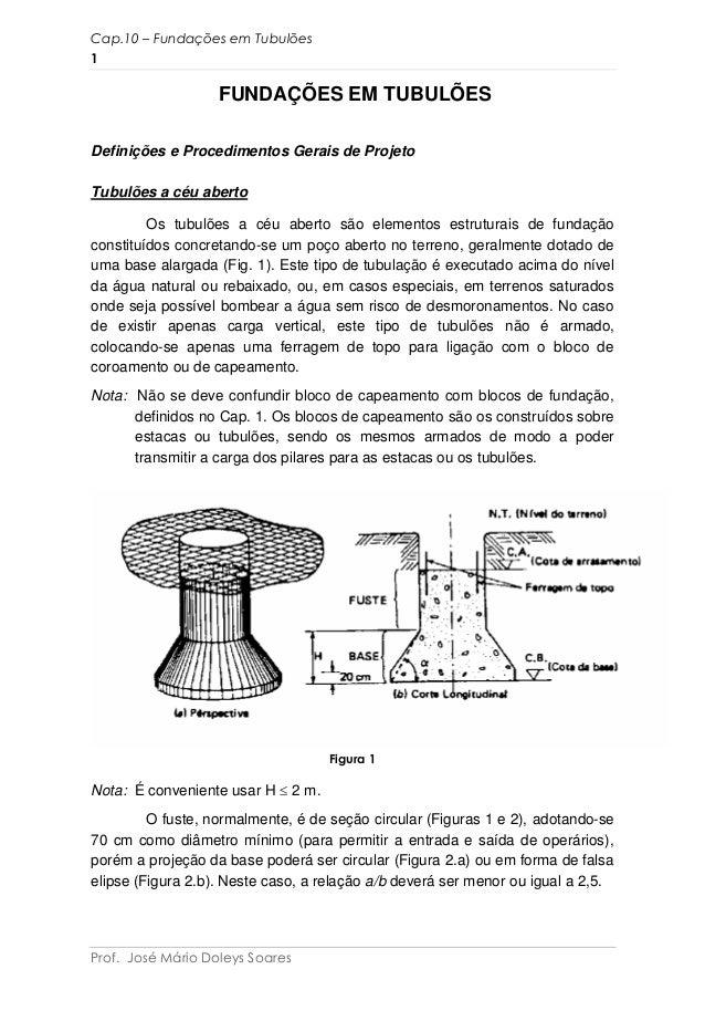 FUNDAÇÕES EM TUBULÕES Definições e Procedimentos Gerais de Projeto Tubulões a céu aberto Os tubulões a céu aberto são elem...