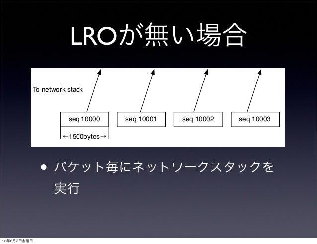 LROが無い場合• パケット毎にネットワークスタックを実行seq 10000 seq 10001 seq 10002 seq 10003←1500bytes→To network stack13年6月7日金曜日