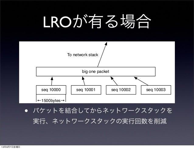 LROが有る場合• パケットを結合してからネットワークスタックを実行、ネットワークスタックの実行回数を削減seq 10000 seq 10001 seq 10002 seq 10003←1500bytes→To network stackbig...