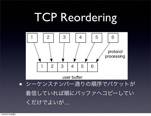 TCP Reordering• シーケンスナンバー通りの順序でパケットが着信していれば順にバッファへコピーしていくだけでよいが…1 2 3 4 5 61 2 3 4 5 6protocolprocessinguser buffer13年6月7日...