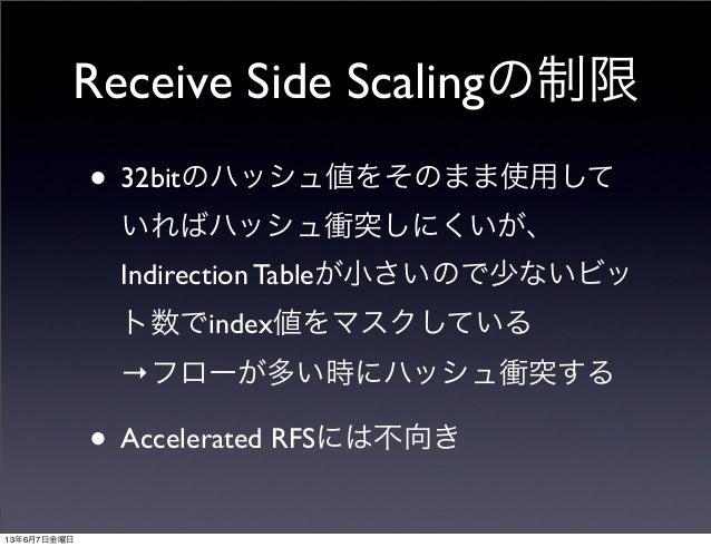 Receive Side Scalingの制限• 32bitのハッシュ値をそのまま使用していればハッシュ衝突しにくいが、Indirection Tableが小さいので少ないビット数でindex値をマスクしている→フローが多い時にハッシュ衝突する...