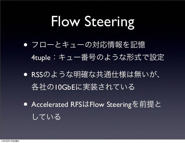 Flow Steering• フローとキューの対応情報を記憶4tuple:キュー番号のような形式で設定• RSSのような明確な共通仕様は無いが、各社の10GbEに実装されている• Accelerated RFSはFlow Steeringを前提...
