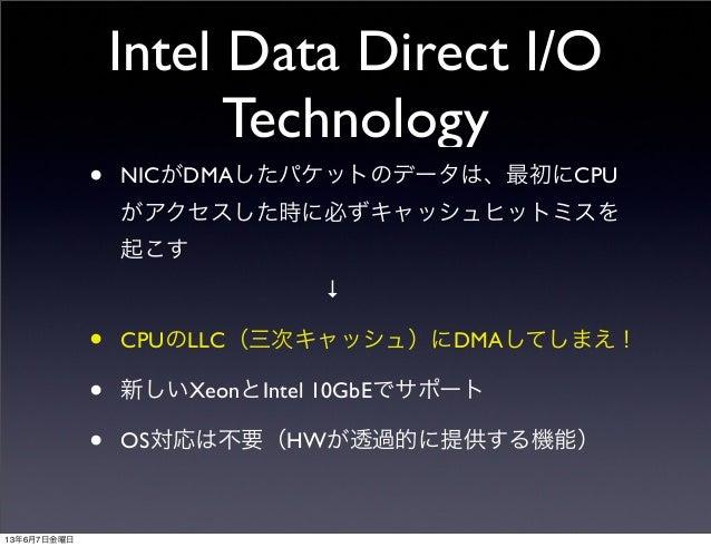 Intel Data Direct I/OTechnology• NICがDMAしたパケットのデータは、最初にCPUがアクセスした時に必ずキャッシュヒットミスを起こす↓• CPUのLLC(三次キャッシュ)にDMAしてしまえ!•...