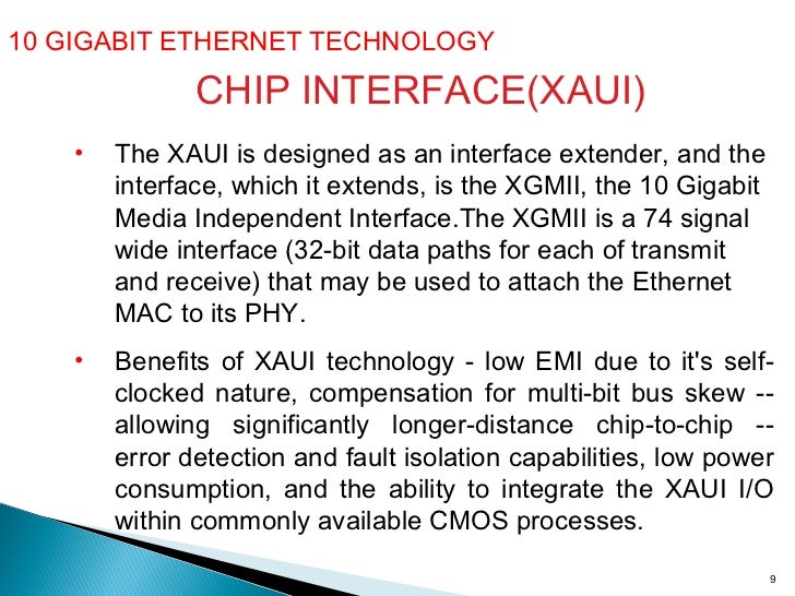 10 GIGABIT ETHERNET TECHNOLOGY  CHIP INTERFACE(XAUI) <ul><li>The XAUI is designed as an interface extender, and the interf...