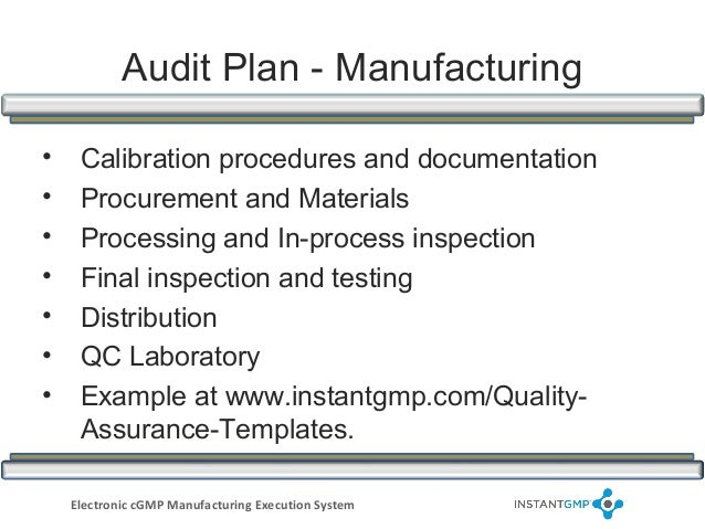 Instantgmp compliance series supplier and vendor for Supplier audit plan template