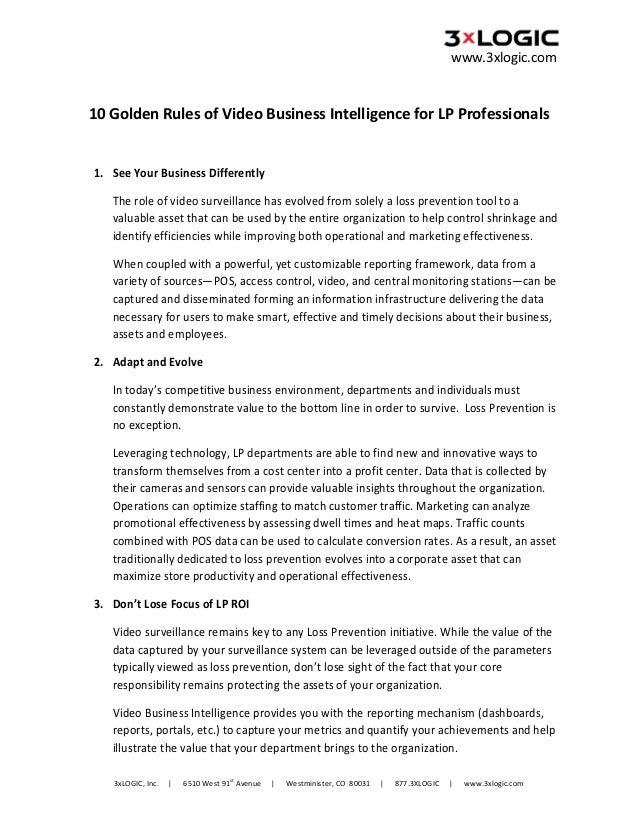 www.3xlogic.com    10GoldenRulesofVideoBusinessIntelligenceforLPProfessionals  1. SeeYourBusinessDiffere...