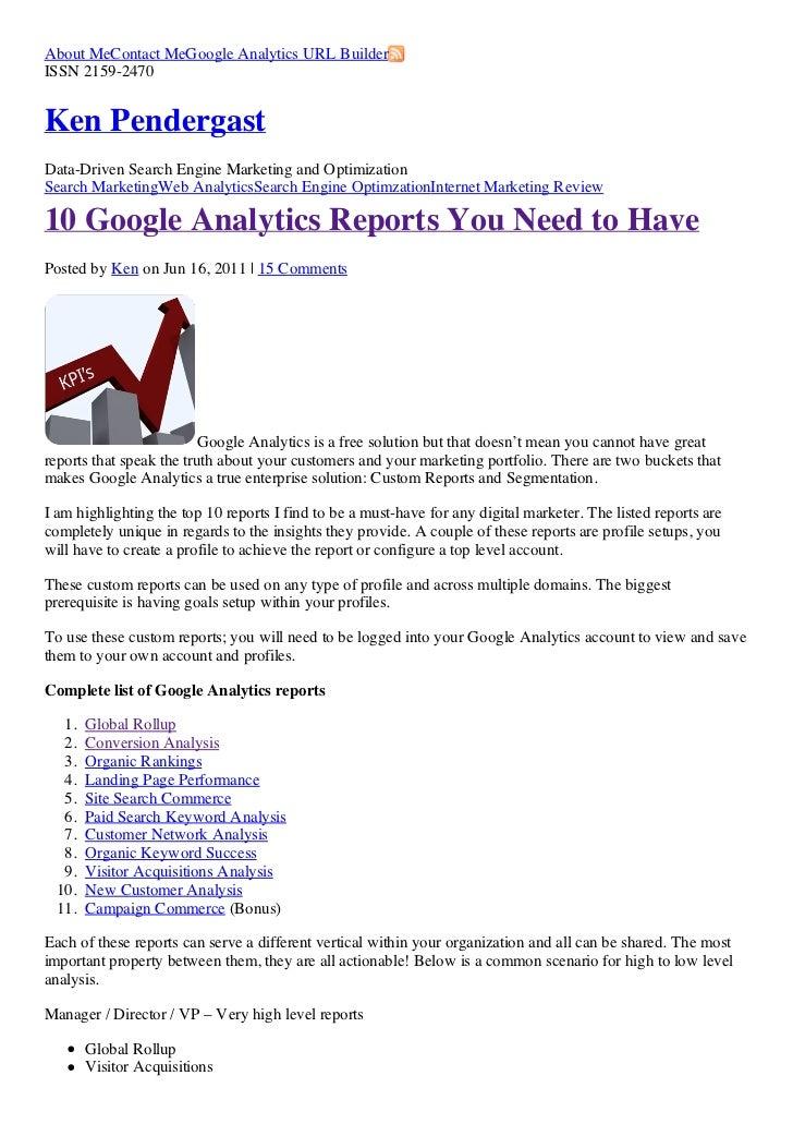 About MeContact MeGoogle Analytics URL BuilderISSN 2159-2470Ken PendergastData-Driven Search Engine Marketing and Optimiza...