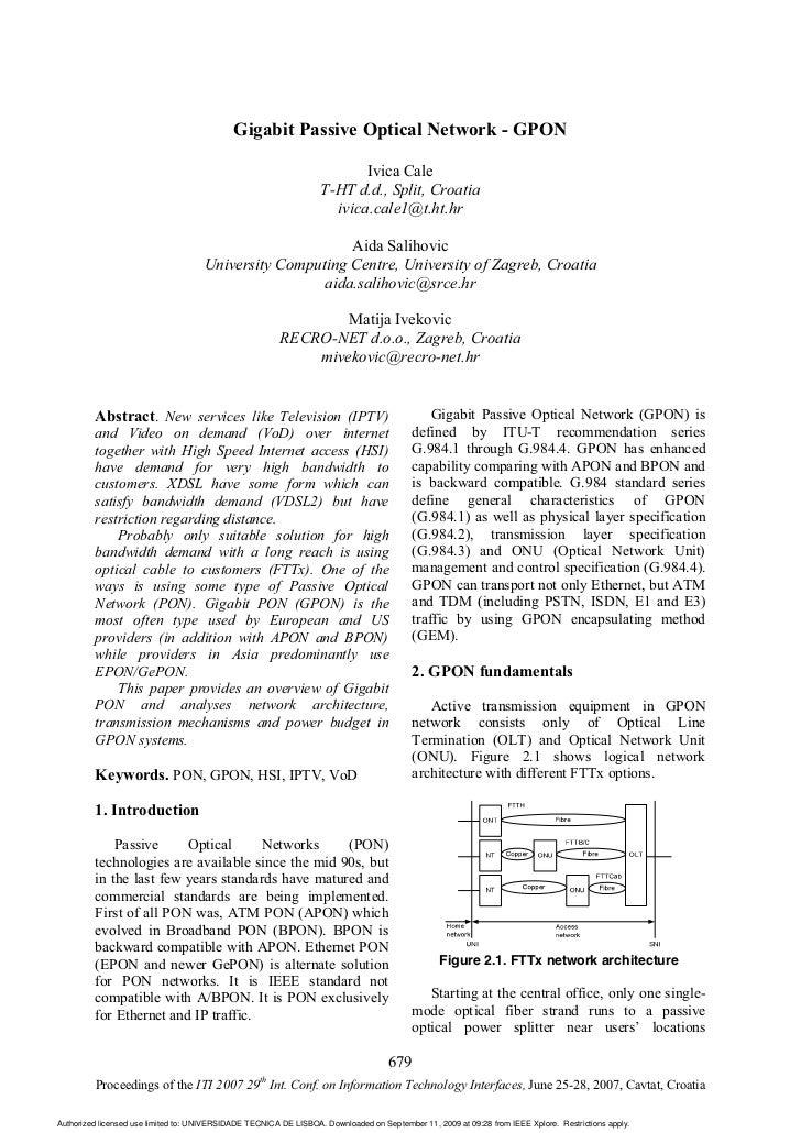 Gigabit Passive Optical Network - GPON                                                                          Ivica Cale...