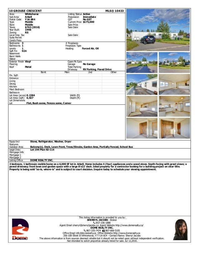 10 GROUSE CRESCENT MLS® 10433 Area Whitehorse Listing Status Active Sub Area Arkell Possession Immediate Postal Code Y1A 6...