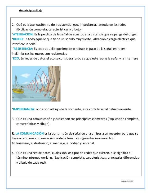 Guía de Aprendizaje Página 3 de 10 2. Qué es la atenuación, ruido, resistencia, eco, impedancia, latencia en las redes (Ex...