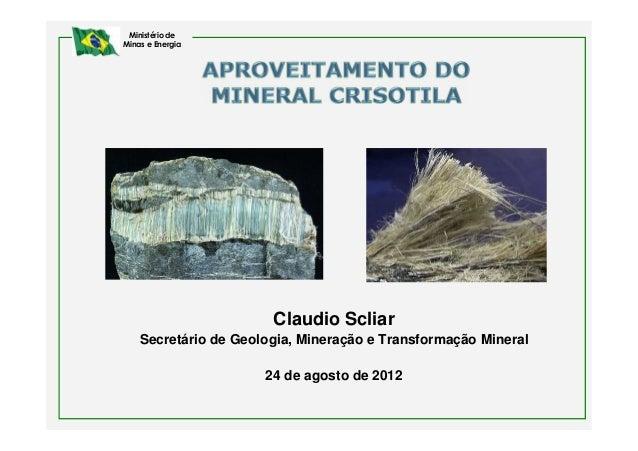 Ministério deMinas e Energia                       Claudio Scliar    Secretário de Geologia, Mineração e Transformação Min...