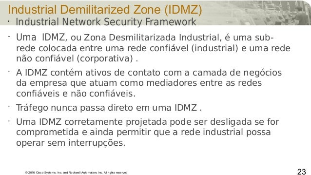 © 2016 Cisco Systems, Inc. and Rockwell Automation, Inc. All rights reserved Industrial Demilitarized Zone (IDMZ) • Uma ID...