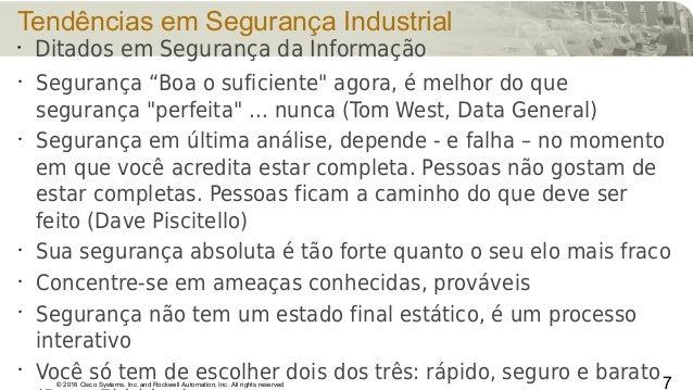© 2016 Cisco Systems, Inc. and Rockwell Automation, Inc. All rights reserved Tendências em Segurança Industrial • Seguranç...