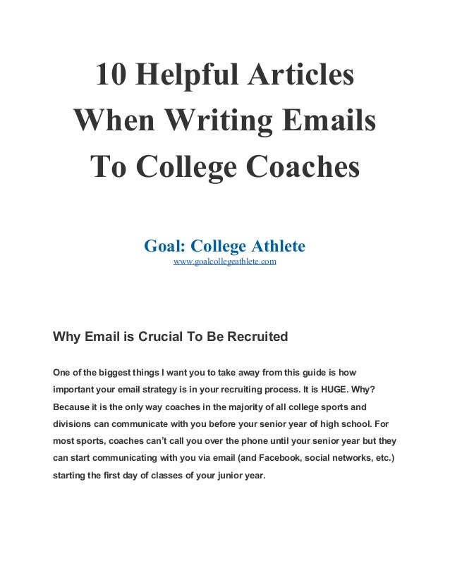 Illustration subjects for college coaches emails