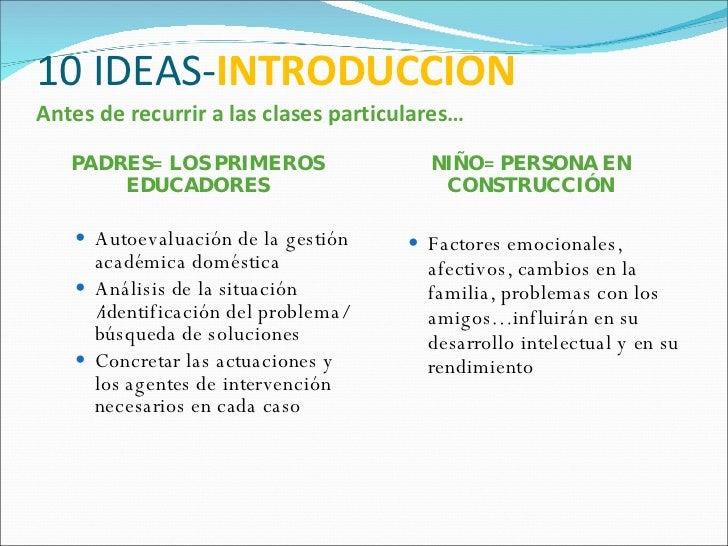 10 IDEAS- INTRODUCCION Antes de recurrir a las clases particulares… <ul><li>PADRES= LOS PRIMEROS EDUCADORES </li></ul><ul>...