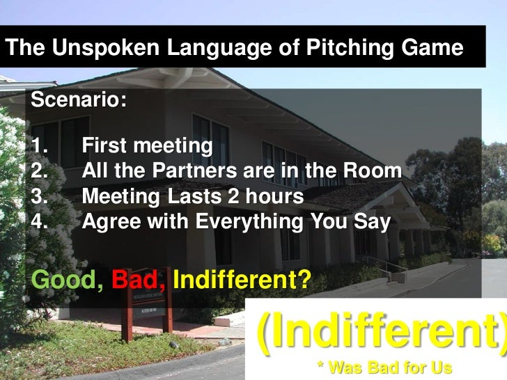 The Unspoken Language of Pitching Game<br />Scenario:<br />First meeting<br />All the Partners are in the Room<br />Meetin...