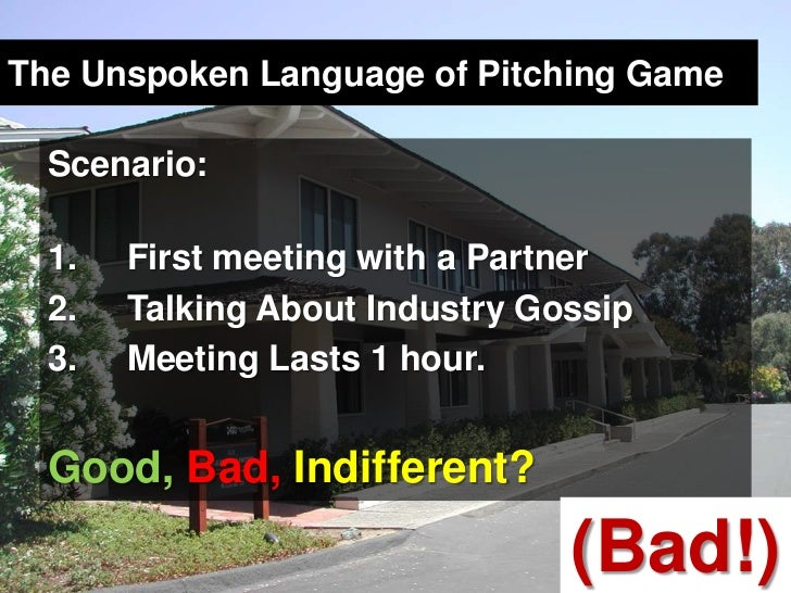 The Unspoken Language of Pitching Game<br />Scenario:<br />First meeting with a Partner<br />Talking About Industry Gossip...