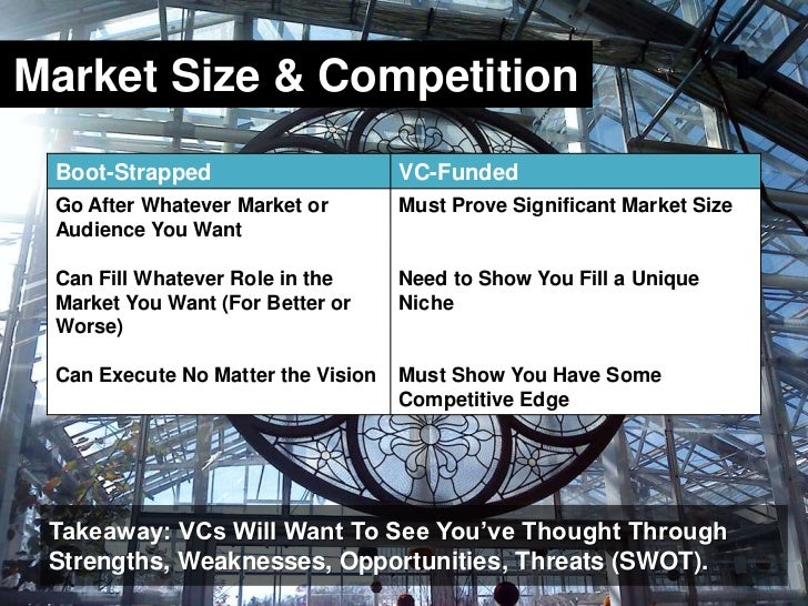 Market Size & Competition<br />Takeaway: VCs Will Want To See You've Thought Through Strengths, Weaknesses, Opportunities,...